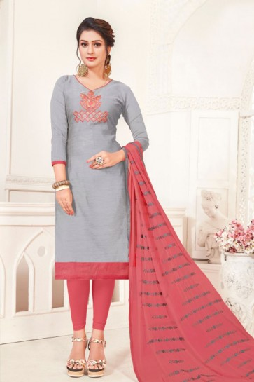 Classic Grey Silk Embroidered Casual Salwar Suit With Net Dupatta