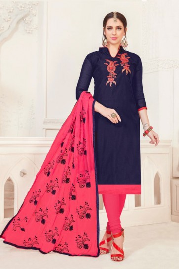 Admirable Navy Blue Silk Embroidered Casual Salwar Suit With Net Dupatta