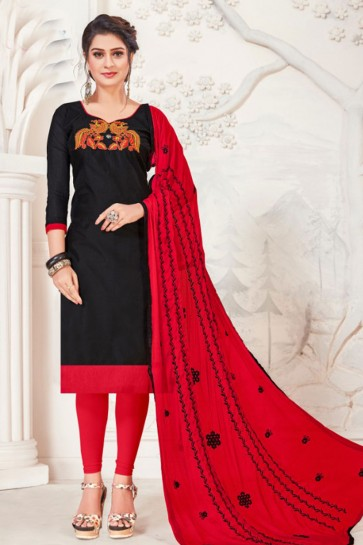 Supreme Black Embroidered Casual Salwar Suit With Net Dupatta