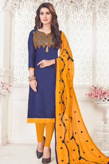 Navy Blue Cotton Embroidered Casual Salwar Suit With Nazmin Dupatta