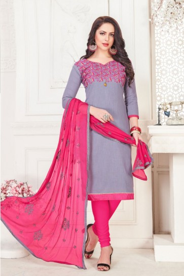 Desirable Grey Cotton Embroidered Casual Salwar Suit With Nazmin Dupatta