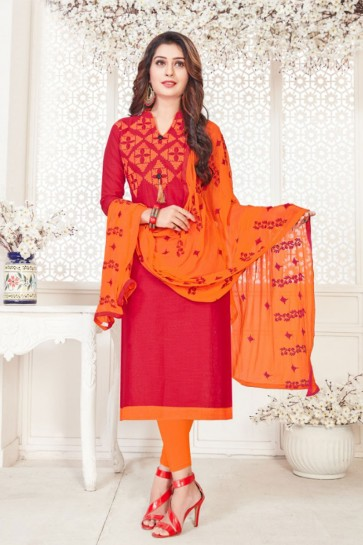 Embroidered Red Cotton Casual Salwar Suit With Nazmin Dupatta