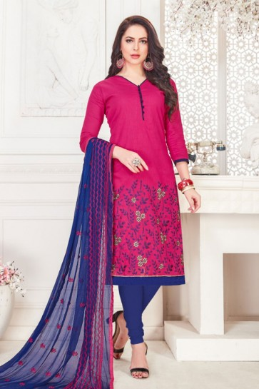 Supreme Magenta Embroidered Casual Salwar Suit With Nazmin Dupatta