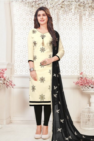 Classic Off White Cotton Embroidered Casual Salwar Suit
