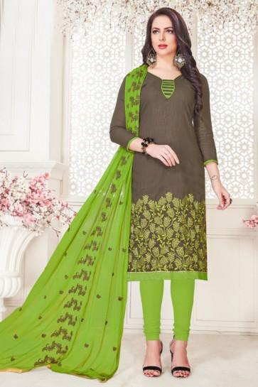 Optimum Grey Cotton Embroidered Casual Salwar Suit With Nazmin Dupatta