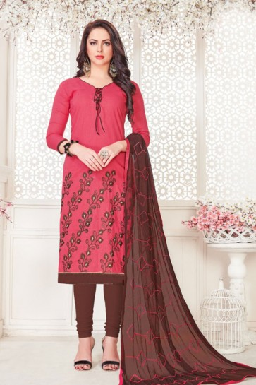 Pink Cotton Embroidered Casual Salwar Suit With Nazmin Dupatta