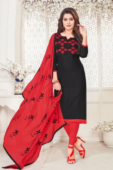 Black Cotton Embroidered Casual Salwar Suit With Nazmin Dupatta