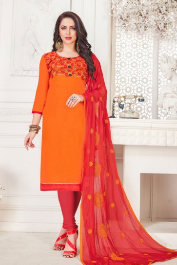 Orange Embroidered Casual Salwar Suit With Nazmin Dupatta