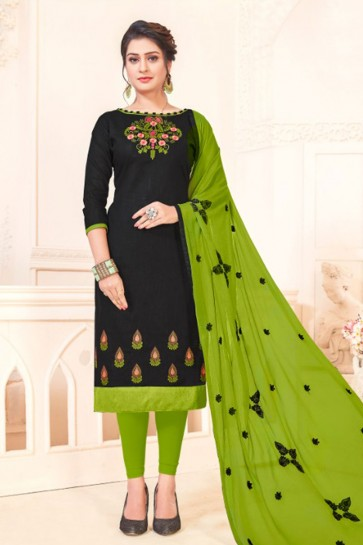 Gorgeous Black Cotton Embroidered Casual Salwar Suit With Nazmin Dupatta