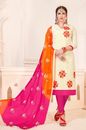 Optimum Off White Embroidered Casual Salwar Suit With Nazmin Dupatta
