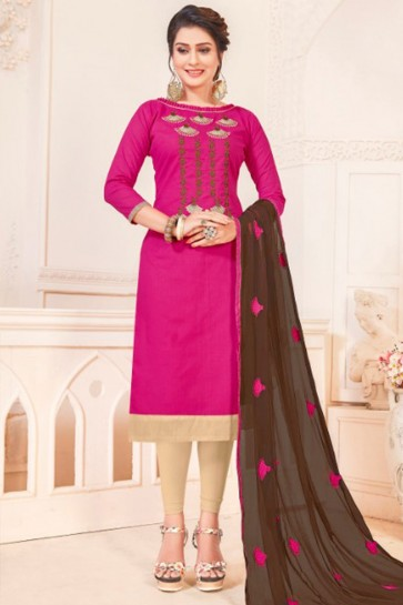 Magenta Cotton Embroidered Casual Salwar Suit With Nazmin Dupatta