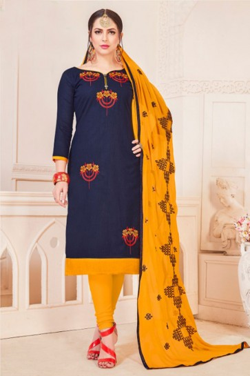 Stylish Navy Blue Cotton Embroidered Casual Salwar Suit With Nazmin Dupatta
