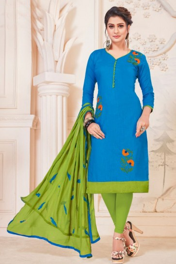 Beautiful Sky Blue Cotton Embroidered Casual Salwar Suit With Nazmin Dupatta