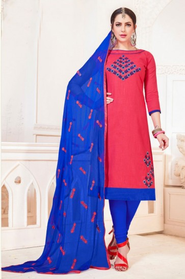 Lovely Cotton Embroidered Casual Salwar Suit With Nazmin Dupatta
