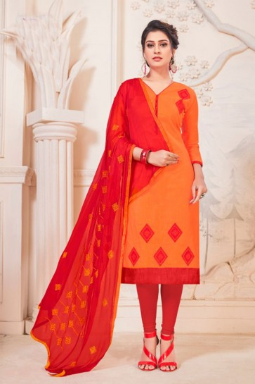 Orange Cotton Embroidered Casual Salwar Suit With Grey Nazmin Dupatta