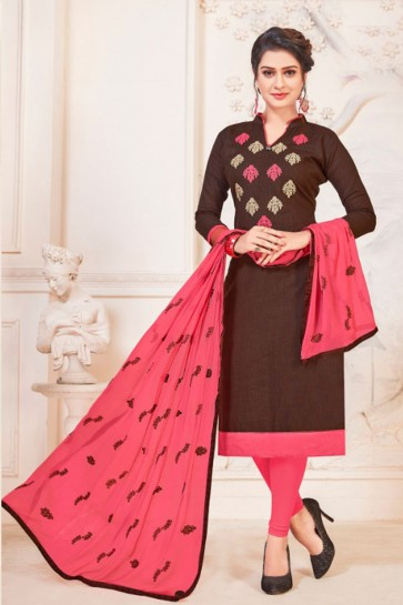Admirable Coffee Cotton Embroidered Casual Salwar Suit With Nazmin Dupatta