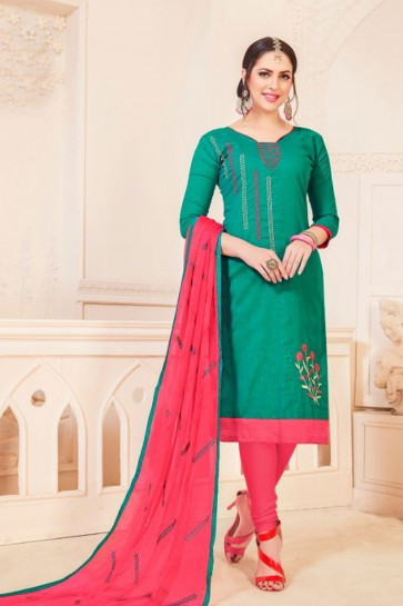 Green Cotton Embroidered Casual Salwar Suit With Nazmin Dupatta