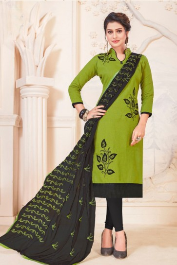 Mehendi Green Cotton Embroidered Casual Salwar Suit With Nazmin Dupatta