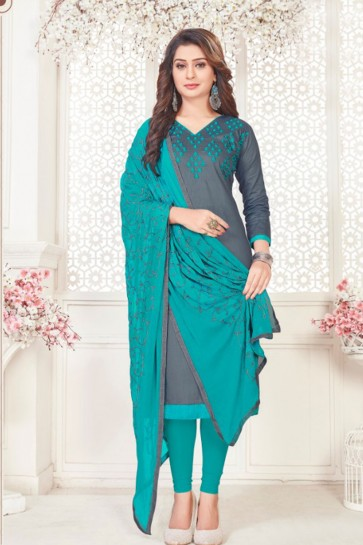 Grey Cotton Embroidered Casual Salwar Suit With Nazmin Dupatta
