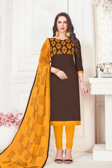 Stylish Coffee Embroidered Casual Salwar Suit With Nazmin Dupatta
