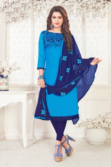 Pretty Sky Blue Cotton Embroidered Casual Salwar Suit With Nazmin Dupatta