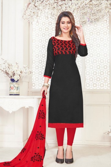 Charming Black Cotton Embroidered Casual Salwar Suit With Nazmin Dupatta