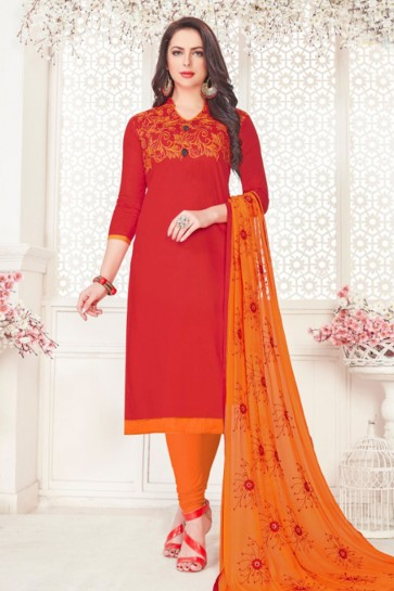 Red Cotton Embroidered Casual Salwar Suit With Nazmin Dupatta