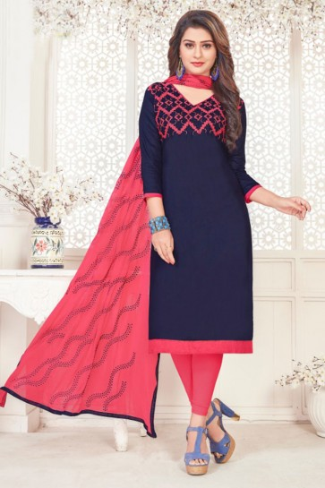 Graceful Navy Blue Cotton Embroidered Casual Salwar Suit With Nazmin Dupatta