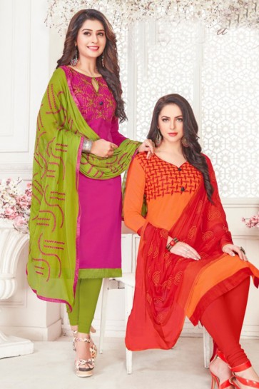 Embroidered Magenta Cotton Embroidered Casual Salwar Suit With Grey Nazmin Dupatta