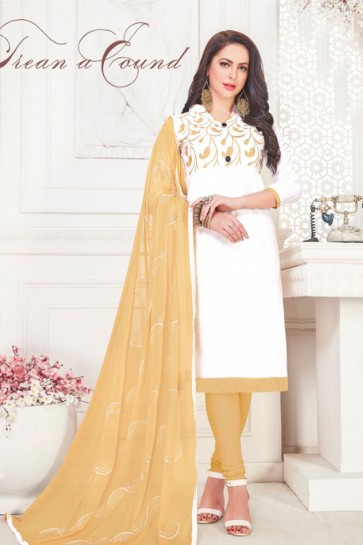 Gorgeous White Cotton Embroidered Casual Salwar Suit With Nazmin Dupatta