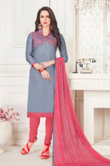 Ultimate Grey Cotton Embroidered Casual Salwar Suit With Nazmin Dupatta