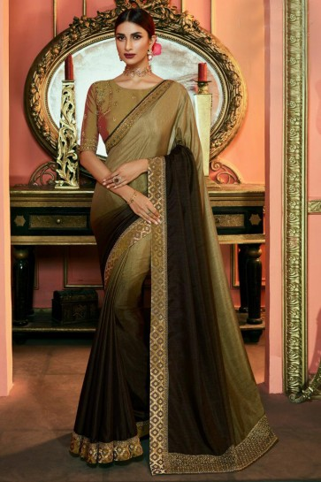 Pretty Beige And Coffee Embroidered Silk Saree And Blouse
