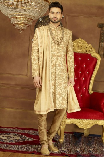 Gorgeous Golden Banarasi Silk Embroidered Sherwani
