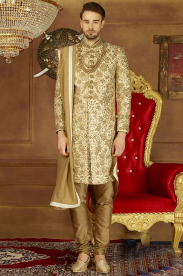 Golden Banarasi Silk Embroidered Wedding Sherwani
