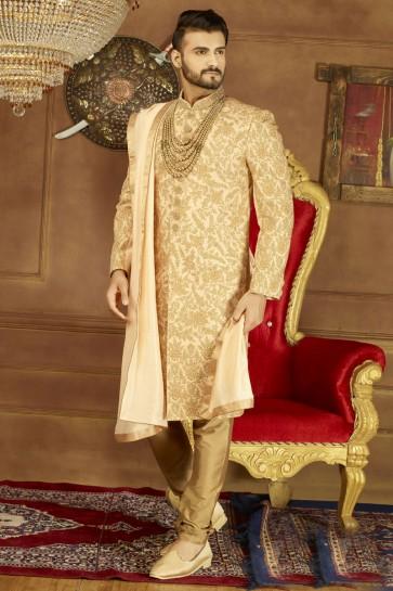 Lovely Golden Banarasi Silk Function Wear Designer Wedding Sherwani