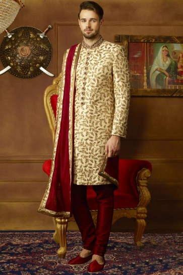 Stylish Golden Banarasi Silk Embroidered Sherwani