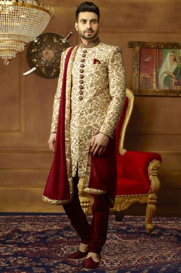Desirable Golden Banarasi Silk Function Wear Designer Wedding Sherwani