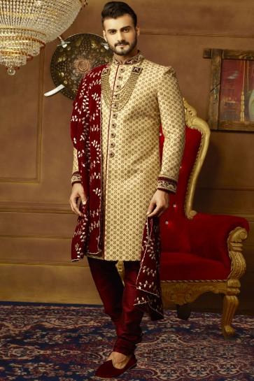 Classic Golden Banarasi Silk Embroidered Sherwani