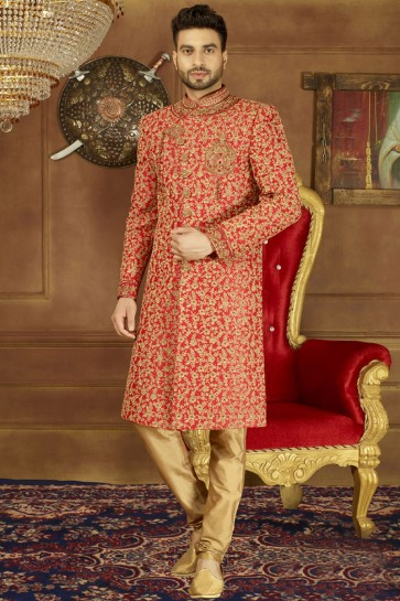 Red Banarasi Silk Function Wear Embroidered Sherwani