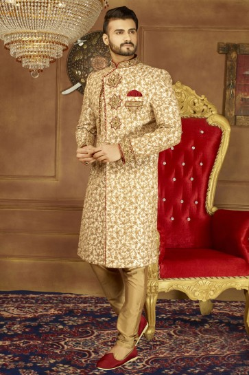 Embroidered Golden Banarasi Silk Designer Sherwani