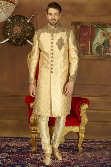 Admirable Golden Silk Embroidered Designer Sherwani