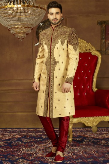 Charming Golden Silk Embroidered Sherwani