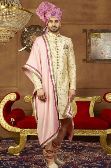 Optimum Cream Banarasi Silk Designer Wedding Sherwani