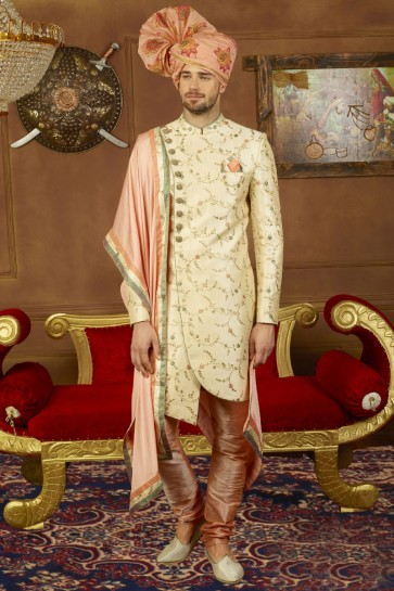Ultimate Cream Banarasi Silk Designer Sherwani