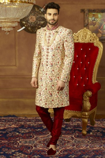 Gorgeous Cream Banarasi Silk Embroidered Wedding Sherwani
