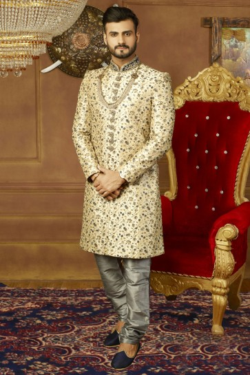 Gorgeous Cream Banarasi Silk Function Wear Embroidered Sherwani