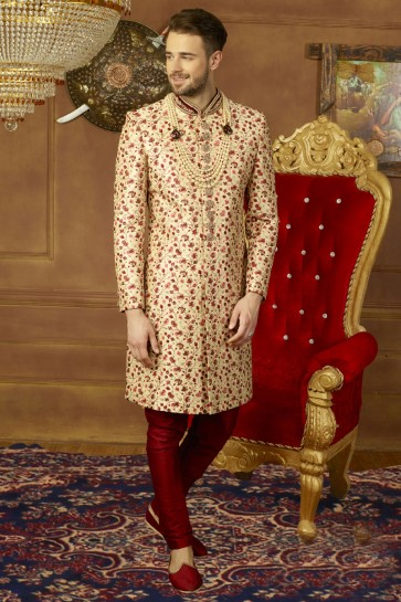Beautiful Beige Banarasi Silk Designer Wedding Sherwani