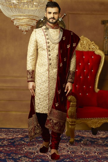 Styllish Golden Banarasi Silk Embroidered Sherwani
