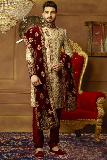 Golden Banarasi Silk Embroidered Designer Wedding Sherwani