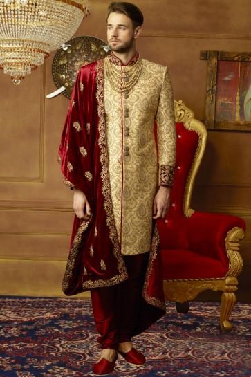 Pretty Golden Banarasi Silk Embroidered Wedding Sherwani